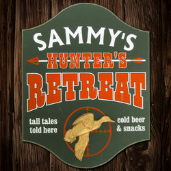 Duck Hunters Retreat Personalized Wooden Sign