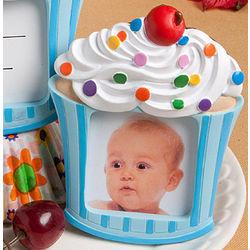 Blue Cupcake Design Placecard Holder/Picture Frame Favor