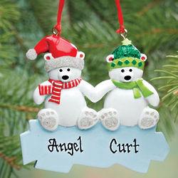 Personalized Polar Bear Family Ornament