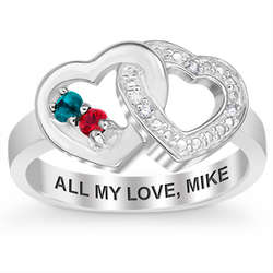 Couple's Sterling Silver Birthstone and Diamond Heart Ring