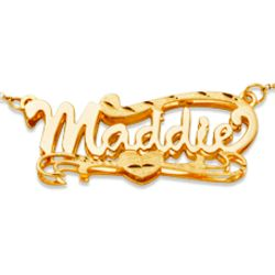 Gold Over Sterling 3-D Script Name Necklace with Florentine Heart