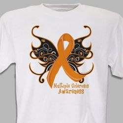 Personalized Multiple Sclerosis Butterfly Ribbon T-Shirt