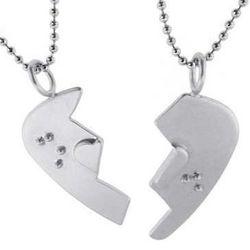 Braille Guitar Pick Broken Couple's Necklace