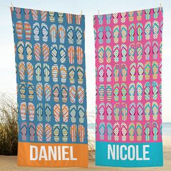 Personalized Sandals in the Sand Beach Towel