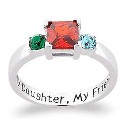 Sterling Silver My Daughter, My Friend Birthstone Ring