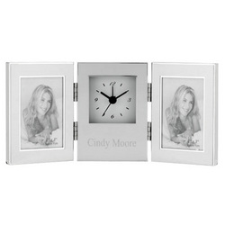 Silver Double Photo Frame Alarm Clock