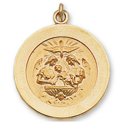 14k Y Gold Holy Spirit Carved Small Baptism Medal