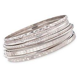 Sterling Silver Assorted Textured Bangle Bracelet Set