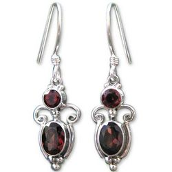 Crown Princess Garnet Dangle Earrings