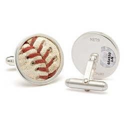 NY Mets MLB Authenticated Game Used Baseball Stitches Cufflinks