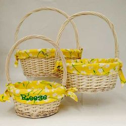 Yellow Blossoms Personalized Small Easter Basket