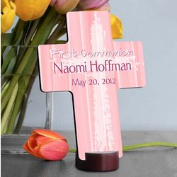 Personalized Pink The Light Of God First Communion Cross