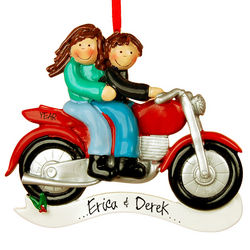 Personalized Brown Haired Couple on a Motorcycle Ornament