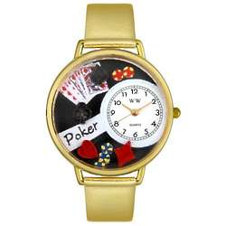 Poker Gold Leather Band Watch