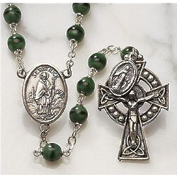 Green Irish Rosary with Saint Patrick and Celtic Cross