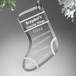 Personalized Favorite Things Stocking Ornament
