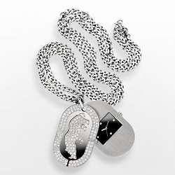 MacDaddy Stainless Steel Crystal Dog Tag Watch