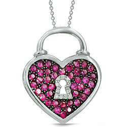 Sterling Silver Diamond and Faux Ruby Heart Necklace