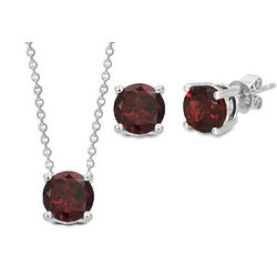 Sterling Silver Garnet Pendant and Earrings