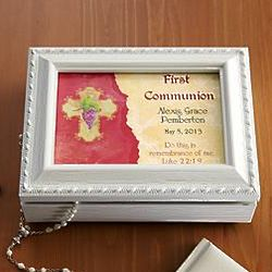 Personalized Jesus Loves Me Communion Music Box