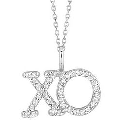 Pave Diamond XO Necklace in 14k Gold