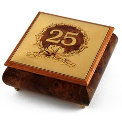 Handcrafted Happy 25th Musical Jewelry Box