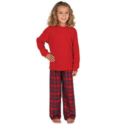 Plaid Thermal Top Pajamas for Girls