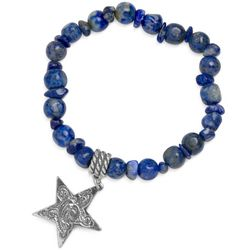 Lapis Bead and Sterling Star Stretch Bracelet