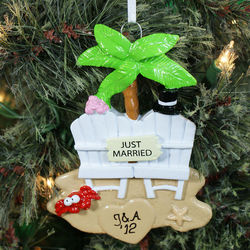 Personalized Just Married Beach Christmas Ornament
