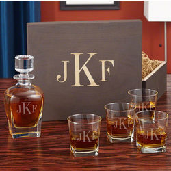 Classic Monogram Whiskey Decanter and Glasses in Custom Box