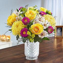Large Sunshine Harmony Bouquet in White Mosaic Vase