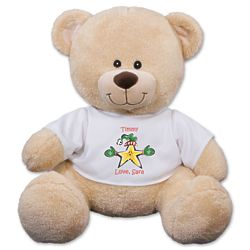 """11"""" Teddy Bear with Personalized Christmas Star T-Shirt"""