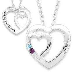 Sterling Silver Couple's Double Heart Name & Birthstone Pendant