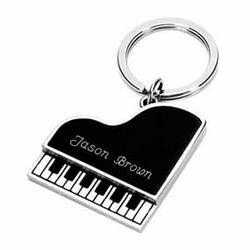 Personalized Silver Plated Piano Shaped Key Chain