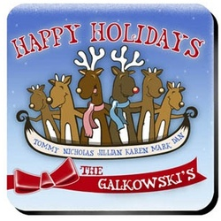 Personalized Reindeer Family Coaster Set