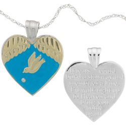 Sterling Silver Memorial Dove & Diamond Accent Heart Pendant