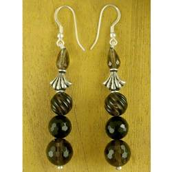 'Fortune's Creation' Smoky Quartz and Onyx Drop Earrings