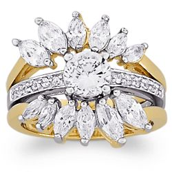 Round and Marquise Cubic Zirconia Sunburst Wedding Ring Set