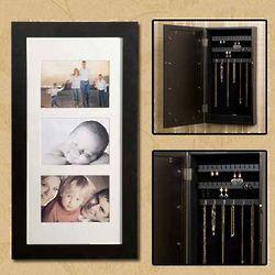 Black Photo Display Jewelry Armoire