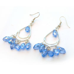 Light Blue Crystal Chandelier Earrings