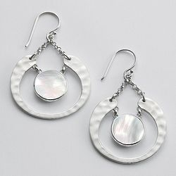 Silver Crescent and Mother of Pearl Earrings