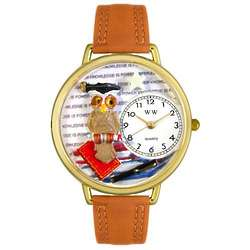 Knowledge is Power Tan Leather Band Watch