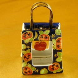 Halloween Pumpkin Shopping Bag Limoges Box