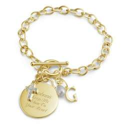 Gold Over Sterling Custom Bracelet with Circle Charm