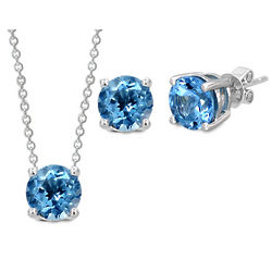 Sterling Silver Swiss Blue Topaz Pendant and Earrings