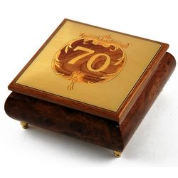Handcrafted Happy 70th Musical Jewelry Box