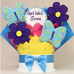 Get Well Flowers and Butterflies 5-Piece Cookie Bouquet