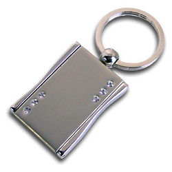 Engraved Photo Locket Key Chain with Crystals and Mirror