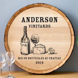 Wine and Cheese Personalized Wine Barrel Bar Sign