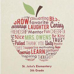 Apple for Teacher Text Canvas Wall Art